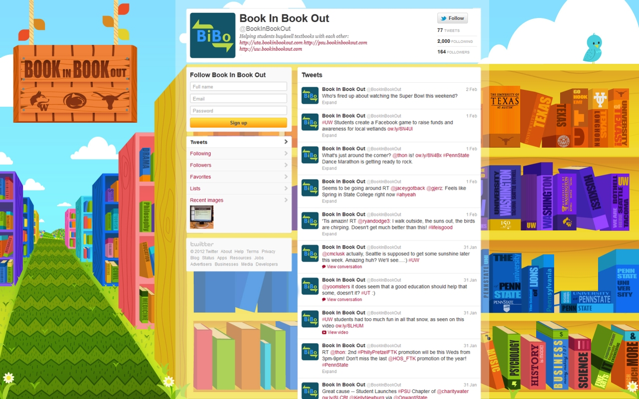 Background that was design for the twitter that will be used for the University branch of BookinBookout.